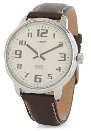 timex timex easy reader leather watch dark brown
