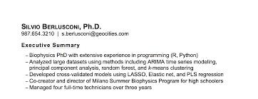 Executive Summary For Resume Easy Screenshoot Data Scientist Phd
