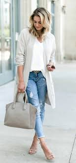 Light Blue Cardigan Outfit Fall Outfits White Cardigan And Blue Faded Jeans In 2019