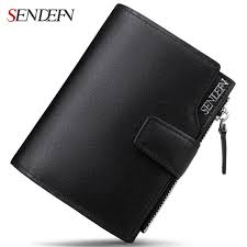 sendefn business men wallets genuine leather first layer of skin zipper short retro purse money card holder man wallet fashion personal