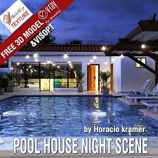 home swimming pools at night. Free SketchUp 3D Model Pool House \u0026 Vray Visopt Home Swimming Pools At Night E
