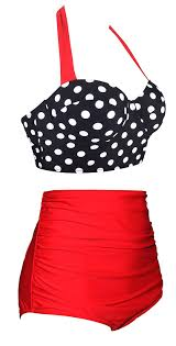 Details About Angerella Polka High Waisted Cute Bikini Swimwear Black Halter Size 12 0