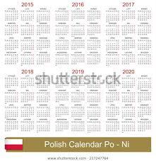 Polish Calendar Years 20152020 Week Starts Stock Vector