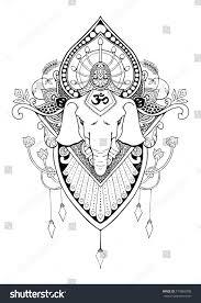 Silhouette Ganesha Mandala Oriental Drawing Tattoo Stock Vector