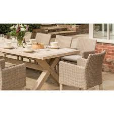kettler cora 8 seat rectangular wood and rattan garden dining set