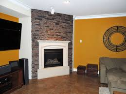 fireplace surrounds of faux brick and stone contemporary living room