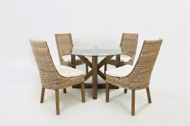 Round glass tables and chairs Metal Hampton Road Round Glass Top Dining Table With Four Rattan Chairs 87248tablewithfourrattanchairs Tables Plourde Furniture Company Plourde Furniture Hampton Road Round Glass Top Dining Table With Four Rattan Chairs