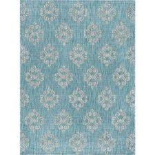 veranda aqua 7 ft x 10 ft indoor outdoor area rug