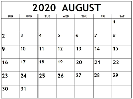 Free 2020 August Printable Calendar Templates Pdf Excel