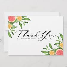 Watercolor Oranges And Grapefruits Borders Thank You Card