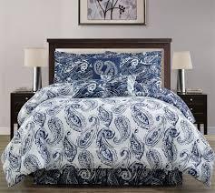 7 piece paisley blue white comforter set king