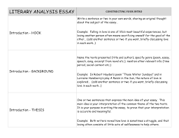 Literary Analysis Essay Constructing Your Intro