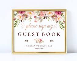 Birthday Guest Book Template Rose Gold Please Sign My Guest Book Birthday Sign 5x7 And 8x10 Guestbook Printable Quinceanera Sign Template Pdf Instant Download Lwi B2
