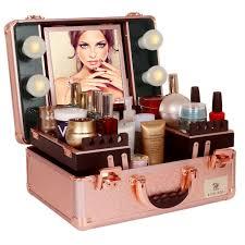 rolling makeup case studio cosmetic artist bag train box hollywood mirror light