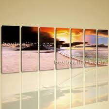 huge canvas wall art print 7 pcs framed sunset contemporary abstract landscape