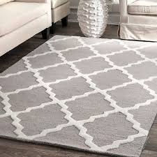 nuloom hand made contemporary geometric trellis wool area rug in grey and white