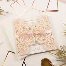 Elegant Invitation Cards Elegant Invitation Cards Laser Cut Peach Lace Square With
