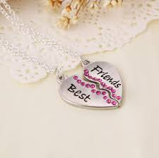 whole hot heart broken style 2 piece and 3 parts pendant necklace best friends forever necklace heart letters necklace gift for line