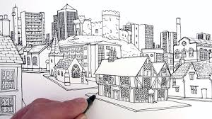 perspective drawings of buildings. Drawn Town Perspective Drawing #12 Drawings Of Buildings