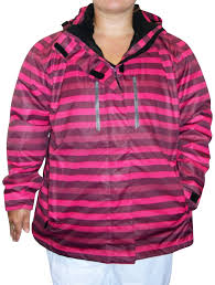 pulse womens plus size 3in1 boundary striped ski jacket 1x 2x 3x 4x 5x 6x raspberry