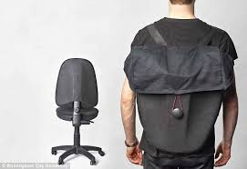 Old office chair Old Oak Rest Creator Transforms Old Office Chairs Into Backpacks Daily Mail Rest Creator Transforms Old Office Chairs Into Backpacks Daily