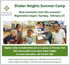 shaker heights recreation summer c it is never too early to start thinking and planning for summer c the shaker heights recreation department has a