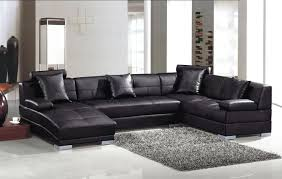 black leather living room furniture. Couch:An Alluring Black Leather Living Room Sofa Sets With Monochrom Fur Carpet, Buffet Furniture