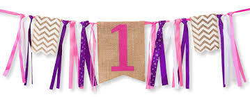 com first birthday decorations 1st birthday burlap highchair banner for girl toys