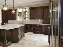 Kitchens With Dark Brown Cabinets Kitchen Gray Wall And Quartz Countertops For Modern Ideas