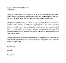 College Admission Recommendation Letter Template How To Write A In