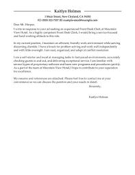 Best Front Desk Clerk Cover Letter Examples Livecareer Hotel Resume