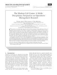 Call Center Operations Pdf The Modern Call Center A Multi Disciplinary Perspective On