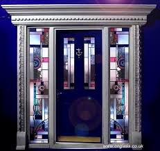 art deco jewelled bevel glass door and side panels