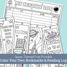Get notified about new coloring pages by following us on twitter! Free Printable Color Your Own Space Bookmarks And Reading Log For Kids