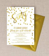 Birthday Invatations Gold Calligraphy Confetti 60th Birthday Party Invitation