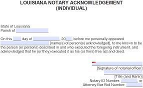 free louisiana notary acknowledgement