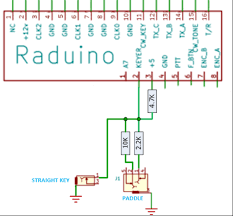 """wiring up a paddle and straight key ubitx 4 7k pull up for straight key to 5v 2 2k resistor for """"dit"""" and 10k resistor for """"dah"""" will need to be installed see circuit diagram below"""