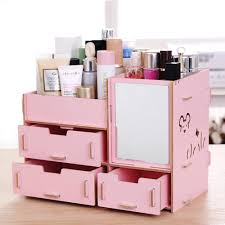 trend makeup storage bins 2018 wooden box with mirror 26 5x14 5x19cm jewelry container