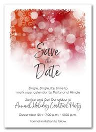 Formal Christmas Party Invitations Snowflakes On Red Holiday Save The Date