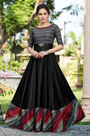 Designer Gown In Black Colour Designer Gown In Black Color Cotton Satin Fabric With Fancy Work