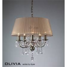 inspired diyas olivia 8 light antique brass with soft bronze gauze shade chandelier il30057 sb