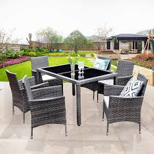 Amazon com wisteria lane 7 piece patio wicker dining set outdoor rattan dining furniture glass table cushioned chairgrey garden outdoor