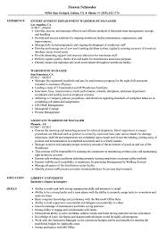 Warehouse Manager Resume Sample Warehouse Manager Resume Samples Velvet Jobs 6