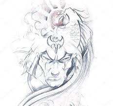 ниндзя эскиз искусство татуировки эскиз японского воина стоковое