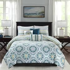 navy blue patterned duvet cover madison park delta navy 6 pieces reversible cotton sateen printed duvet