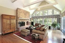 living room brick fireplace traditional styling in this living room includes red brick fireplace with built