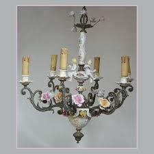 vtg nove di bassano capodimonte italian porcelain putti cherubs roses chandelier