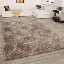 Teppich Wohnzimmer Beige Braun Hochflor Shaggy Weich Flauschig 3 D Wellen Muster Grösse120x160 Cm