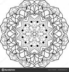 Zwart Wit Mandala Kleurplaat Stockvector Sagmariya 157422738