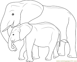 Small Picture Mother and Baby Elephant Coloring Page Free Elephant Coloring